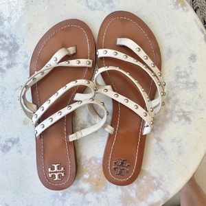 Tory Burch Slide-On Sandals White with studs